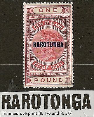 "COOK ISLANDS 1921-23 KGV ""RAROTONGA"" £1 TRIMMED OVPT SG80a ONLY 170 EXIST!"