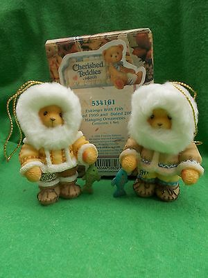 Cherished Teddies Eskimos with Fish. 1999 and 2000 Retired New In Box