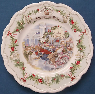 "BRAMBLY HEDGE ROYAL DOULTON THE SNOW BALL 8"" WALL PLATE 1st QUALITY JILL BARKLEM"