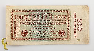 1923 Germany 100 Miliarden (VF) Very Fine Condition