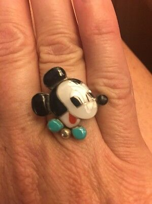 Vintage Sterling Silver Zuni Inlay Mickey Mouse Ring Signed Cpl