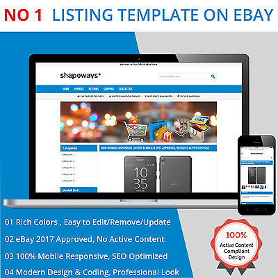 eBay Listing Template HTML Professional Mobile Responsive Design 2017 Universal