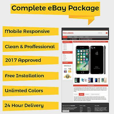 MOBILE RESPONSIVE EBAY Listing Template Auction 2017 Approved HTML ...