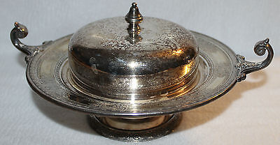 Vintage Silverplate Covered Butter / Caviar Serving Dish
