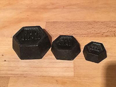 Set of vintage cast iron weights