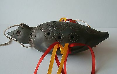 Clay Whistle Big Bird handmade with 7 sounds symbol gift talisman