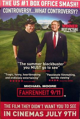 FAHRENHEIT 9/11 Michael Moore Bush original cinema release UK promo POSTER rare