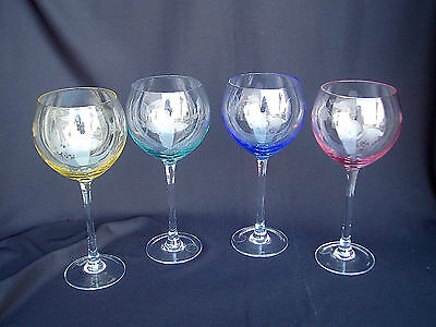 Lenox 'Butterfly Meadow' Etched Balloon Wine Glass Set/4~Multi-Color~SCARCE~NIB!