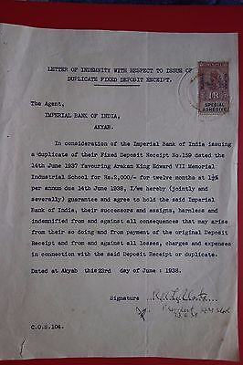 BURMA : VERY OLD LETTER of INDEMNITY w/ 1R's SPECIAL ADHESIVE EDWARD (1938)