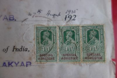 BURMA : VERY OLD LETTER of IMP BANK w/ 3x 4A's SPECIAL ADHESIVE EDWARD (1935)