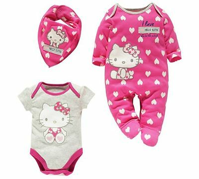 NEW Hello kitty baby girl 3 pc set vest bodysuit sleepsuit bib 0-3m