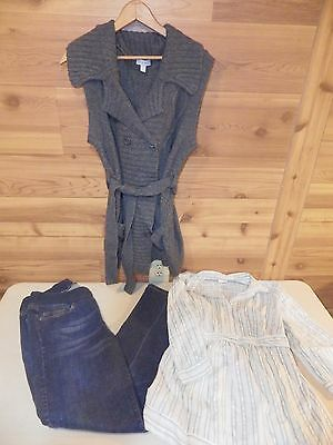 Maternity Mixed lot of 3; Jeans/Blouse/Cardigan Sweater Size Large - Free Ship!