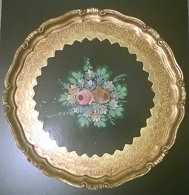 Vintage Hand Painted Floral Italian Florentine Wood Tole Tray