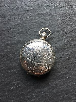 Antique Victorian Solid Silver Sovereign Coin Holder Fob Case Ornate Design 1893