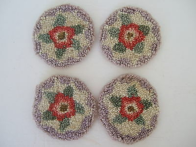 Cheticamp Nova Scotia Rug Hooking Coasters set of 4 rose motifs lilac border