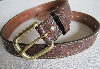 GIORDANO Hand Tooled Brown Cowhide Leather Cowboy/girl Belt w/Solid Brass Buckle