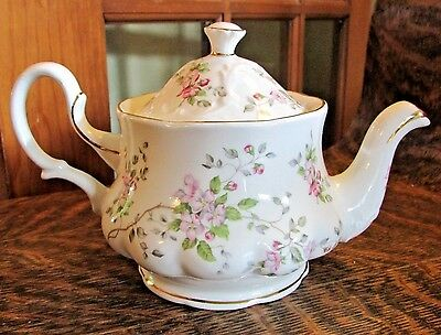 Crown Dorset Bone China Staffordshire Teapot With Pink Flowers