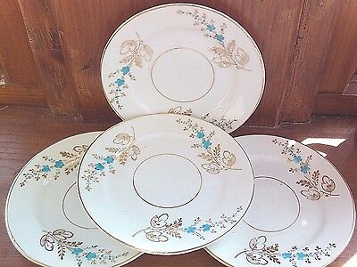 Vintage side plates white with turquoise blue and gold handfinished, set of Four