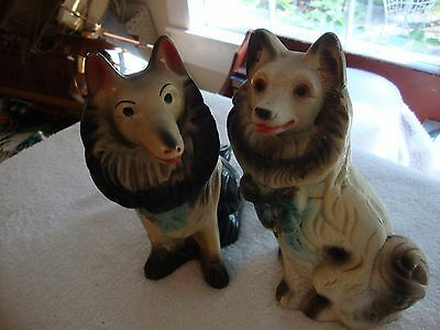 Pair of Vintage Mid Century Large Carnival Chalkware Dog Banks