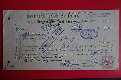 BURMA : RECEIPT of Imperial Bank of India w/ Bengal Ovpt on Rev Stamp (1951)