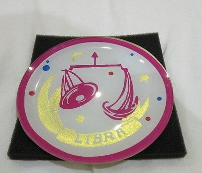 Libra Zodiac Star sign Small Dish Astrology Plate New - White  Pink & Gold