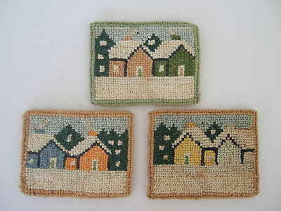 Cheticamp Nova Scotia Rug Hooking Rectangular Coasters set of winter village