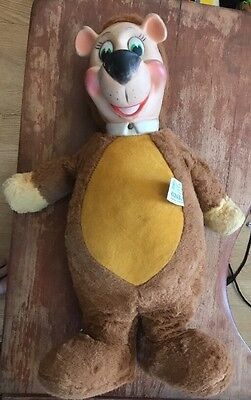 "KNICKERBOCKER Yogi Bear Plush Rubber Face Hands 50s 17"" Vintage Toy Doll"