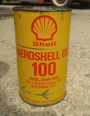 Shell aviation oil can aeroshell gas and oil quart nice shape vintage empty