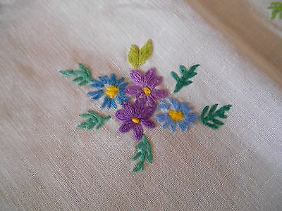Vintage Hand Embroidered Linen Square Tablecloth Beautiful Floral Posies