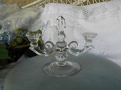 Sale-Vintage Glass Victorian Style Double Candle Holder  Wonderfully Detailed