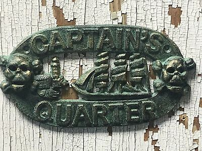 "Seaworn Cast Iron Captain's Quarters Sign 8"" Patina Green Plaque Sign Skull Ship"
