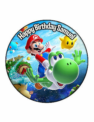 Super Mario Edible Cake Image Personalised Birthday Decoration Party Topper