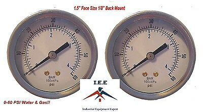 "2 pc 1/8"" NPT Air Compressor Pressure Gauge 0-60 PSI Back Mount 1.5"" Face"