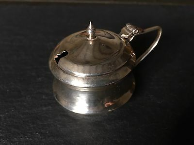 Antique Solid Sterling Silver Mustard Condiment Pot With Blue Glass Liner A/F