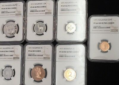 1971 Set Of 7 Mauritius 1,2,5,10 Cent & 1/4,1/2,1 Rupee Ngc Proof Pf 66-69