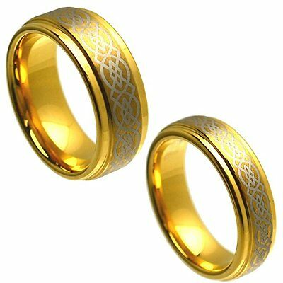 8MM Men or 6MM Ladies Gold Celtic Knot Tungsten Carbide Wedding Band Ring Set
