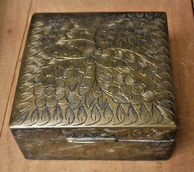 Vintage Box Brass Square Hinged India Cedar Wood Lined Etched Cigarette Matches