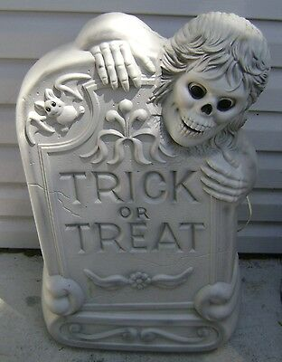 "Vintage Trick Treat Halloween Tombstone Skeleton Blow Mold Light Works 28"" Used"