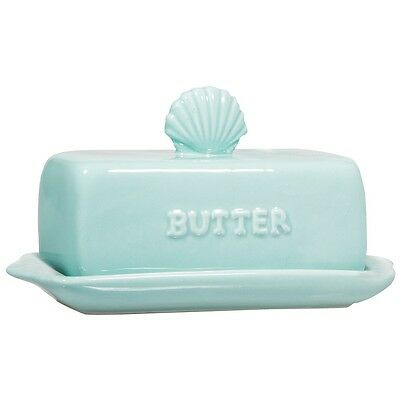 """Sea Blue Covered Butter Dish with Seashell Finial Handle - Ceramic - 7"""" Long"""