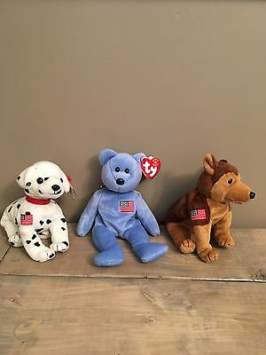 "Ty Beanie Baby Rare Collection- 9/11/2001 Beanies- ""Rescue""- ""Courage""-""America"""