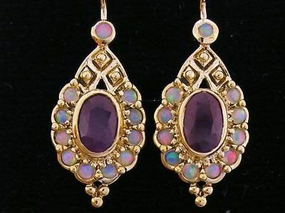 CE015- Genuine 9ct SOLID Gold NATURAL Ruby & Opal Charming Drop Earrings