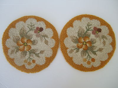 Pair matching Cheticamp Hooked Wool Mats Yellow Floral- NWT – JC3