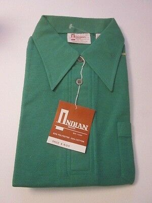 Vintage Indian Brand Green Shirt NOS NIP Sz Large Short Sleeve Mens Polo 70's