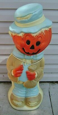 "Halloween Pumpkin Scarecrow Blow Mold Light Works 33"" Used"