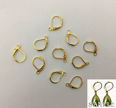 18k Gold Plated Earrings LeverBack French Lever Back Open Ring Earring Findings