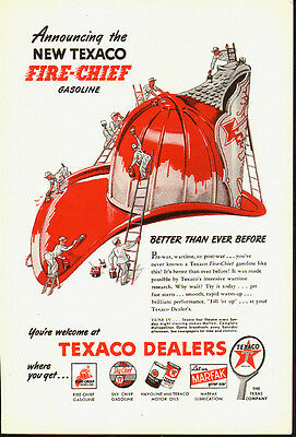 1950s vintage AD, TEXACO FIRE CHIEF GASOLINE, Fire Hat painted red  Art 080814