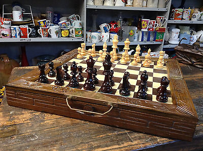 """BRT Large Old Vintage Hand Carved Wooden Brass Chess Set Board 14"""" x 14"""""""