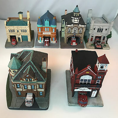 Set Lot Of 6 Classic American Firehouses Collection Figurines Danbury Mint 1992