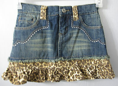 The Children's Place Skirt Size 8 Denim with Corduroy Animal Print Trim EUC