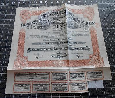 Antique Chinese Bond 1920 Tramways Loan 250 Francs China With Coupons